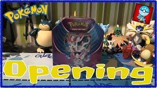 Pokemon TCG: Pokemon Tins: Evolutions Celebration: Sylveon GX Tin Opening