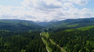 Aerial View of Road To Mountain Hoverla, Ukraine Carpathian Mountains | Stock Footage - Videohive