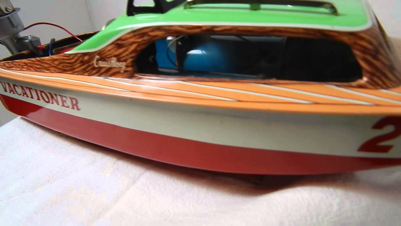Vintage Marx LineMar Battery Operated Boat Outboard Motor Cabin Cruiser