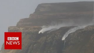 Storm Henry blows a waterfall backwards - BBC News