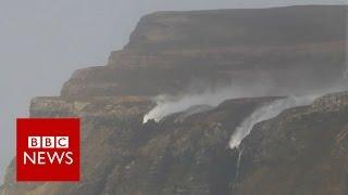 Storm Henry blows a waterfall backwards - BBC News
