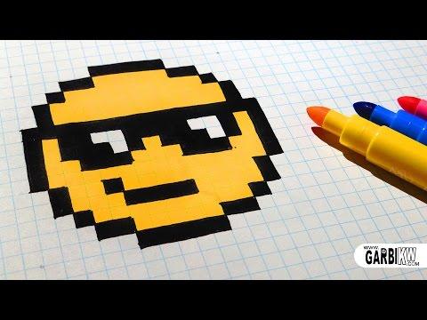 Handmade Pixel Art - How To Draw The Sunglasses emoji #pixelart
