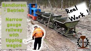 Moorbahn Bad Bramstedt Sandloren-Betrieb / Narrow gauge railway with tipping wagon