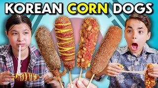 Kids Try Korean C๐rn Dogs!   Kids Vs. Food