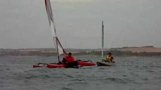 Hobie Adventure Island towing an Outback upwind