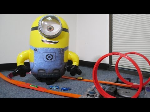 Minions Stuart visits Race Grooves on his Traveling Summer Adventure of Family & Toy YouTube Channel