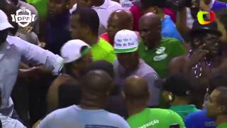 Ronaldinho singing in the crowd during Brazilian Carnival