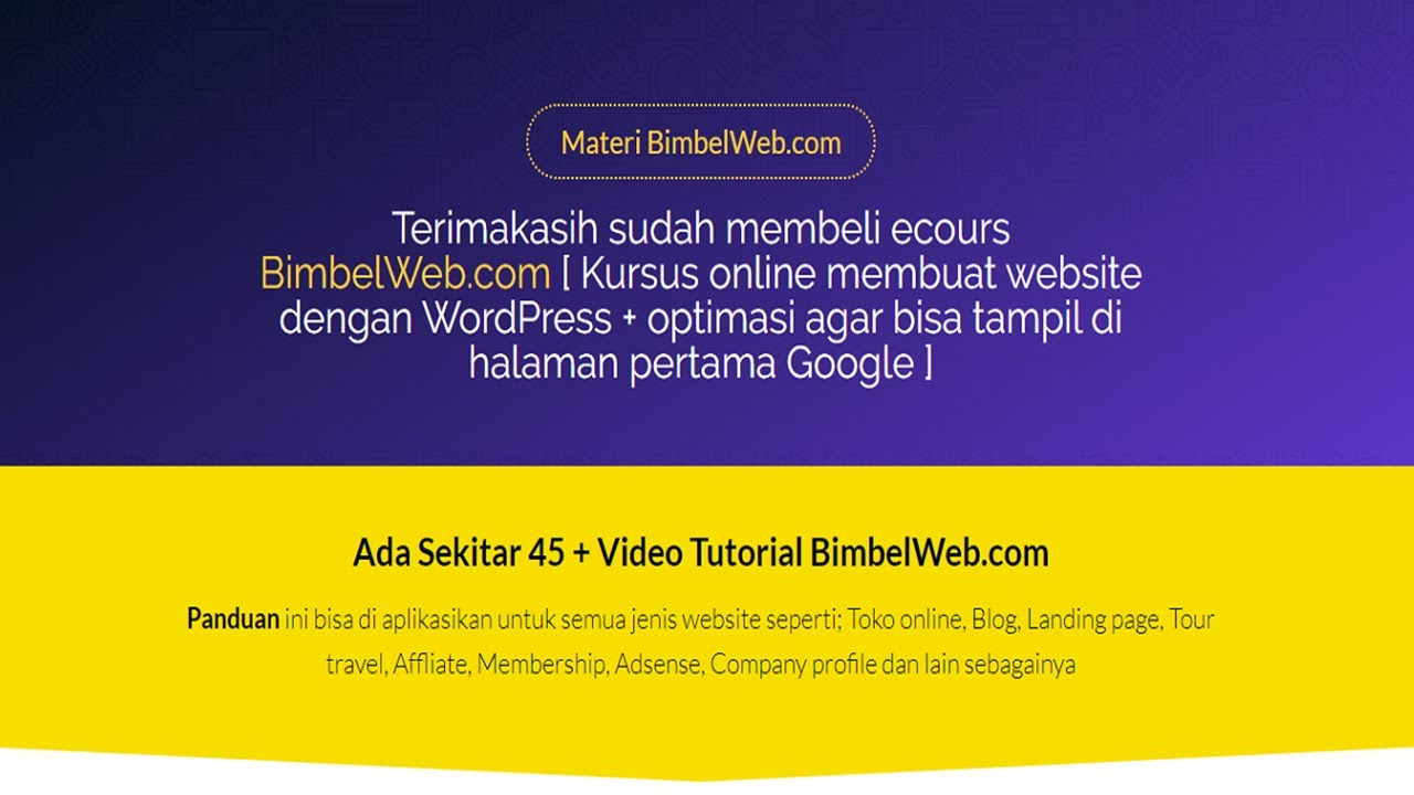 1 Kursus Membuat Website Online Dengan Wordpress 2021