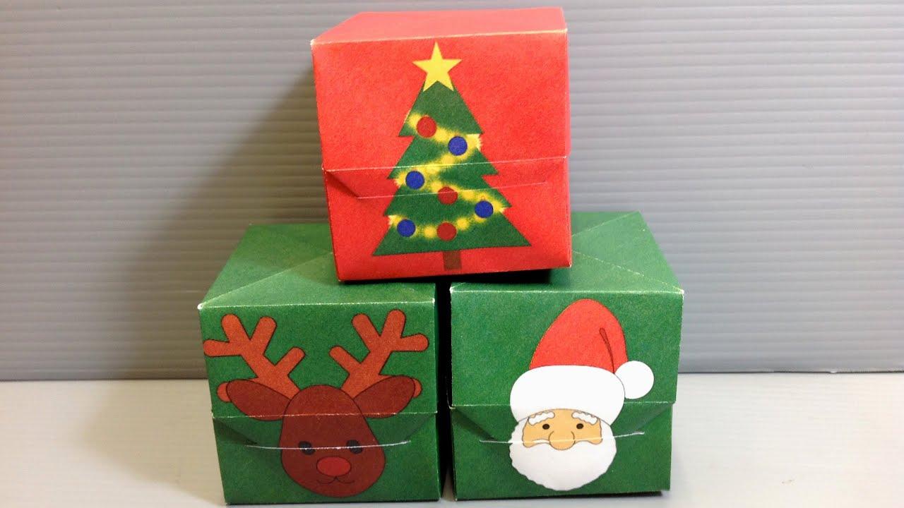 Origami Christmas Gift Box - Santa Reindeer Tree - YouTube