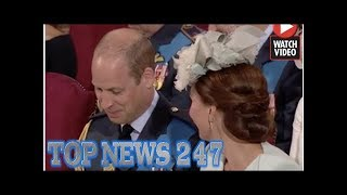 Kate Middleton fires glance at Prince William as he giggles through RAF 100 service