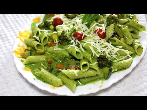Healthy Spinach Pasta With Exotic Vegetables | Quick & Easy Vegetarian Recipe