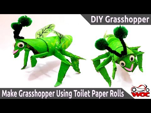 DIY Grasshopper - Make a cute Grasshopper Using Toilet Paper Rolls - Cardboard Tube Grasshopper