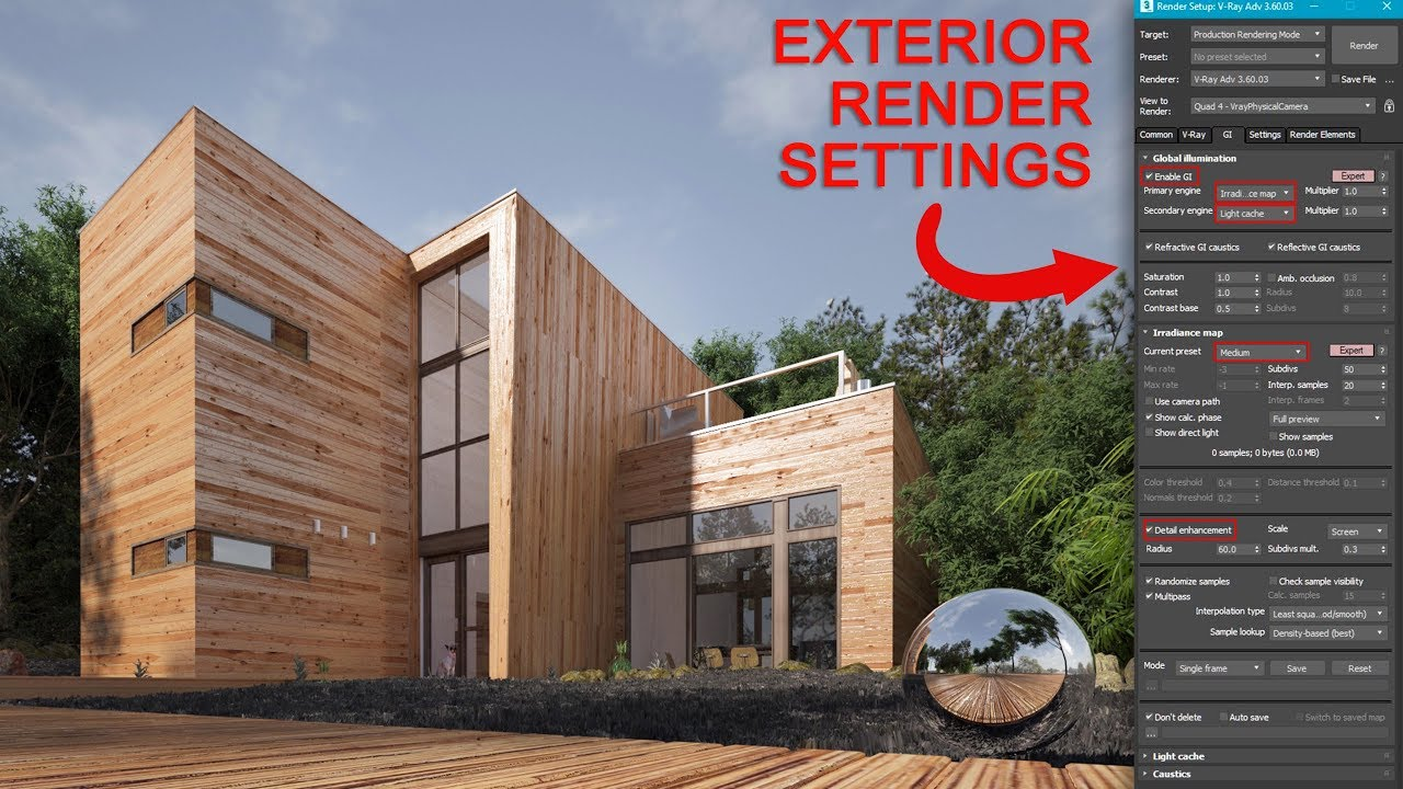 Easy v ray 3dsmax exterior render settings youtube - Vray realistic render settings exterior ...