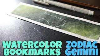 Watercolor Bookmark | Galaxy | Zodiac | Gemini |