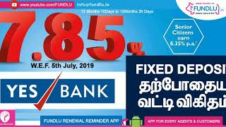 YES Bank Fixed Deposit Rates 8.35 for senior citizens