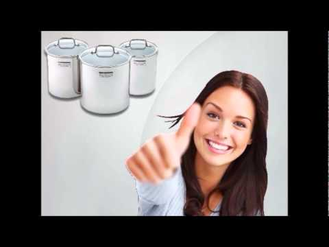 Food Storage Canister of Stainless Steel with Glass Lids