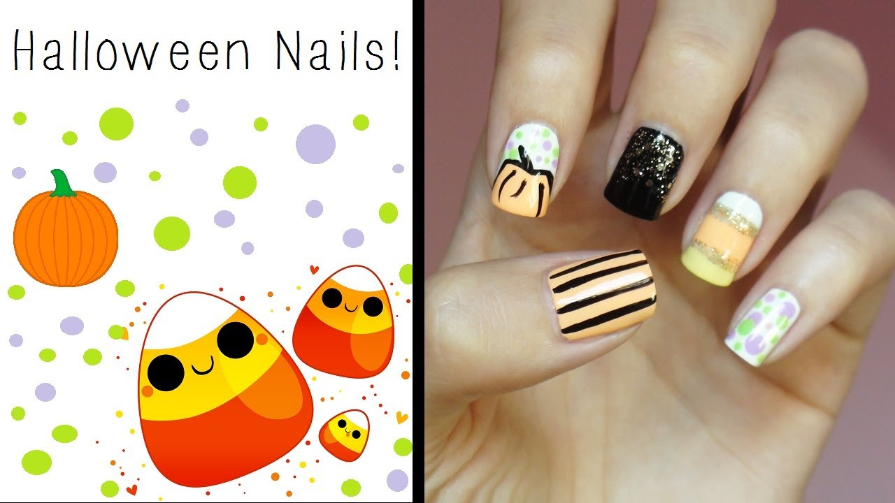 Halloween Nails!!! Cute & Easy Design! - YouTube