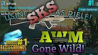 Using SKS as Rifle! / AWM is SAVAGE! ' PUBG MOBILE