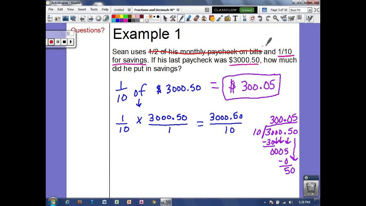 word problems with fractions and decimals youtube. Black Bedroom Furniture Sets. Home Design Ideas