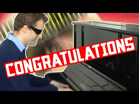 Derek Paravicini plays 'Congratulations!' on the piano