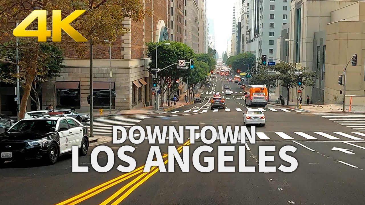 LOS ANGELES - Driving Downtown Los Angeles : Grand, Figueroa, Alameda, Temple, California, USA, 4K