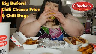 Checkers Big Buford Burger With Bacon - Chili Cheese Fries and Chili Dogs Mukbang