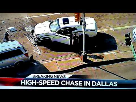 Car in a high speed chase rear ends a van, van driver proceeds to kick the guys ass