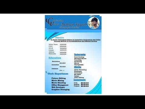 How to design professional cv in Photoshop || CV/Resume ||Photoshop || mehran yaqoob edits