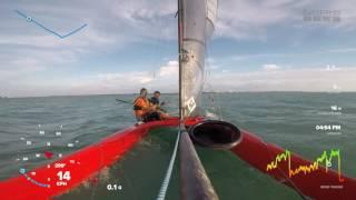First flight - Whisper Foiling Catamaran - Biscayne Bay Miami Florida