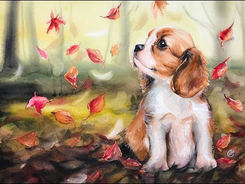 Puppy and Leaves in Watercolors Painting Tutorial