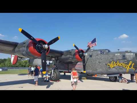 "Collings Foundation B-24 Liberator ""Witchcraft"" flying out of Palwaukee and over Chicago."