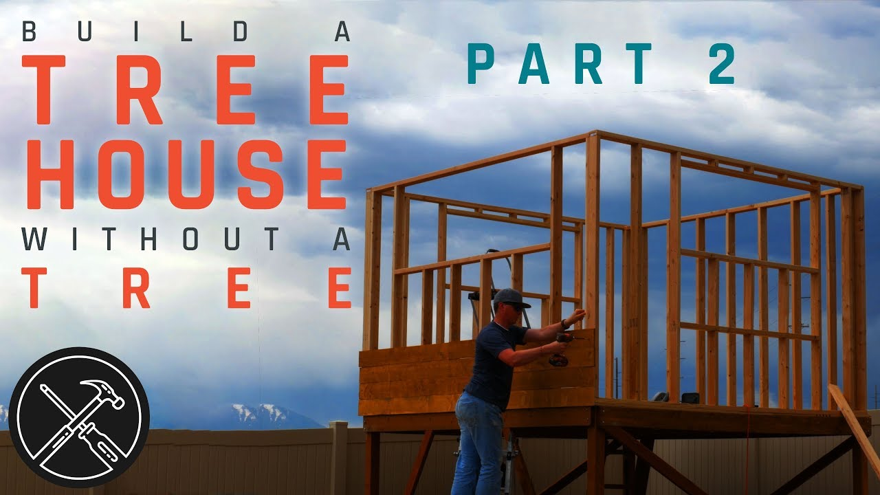 How To Build A Treeless Tree House Part 2 Walls Trap Door And Siding