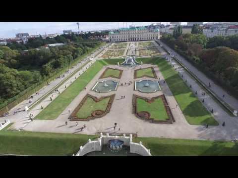 Flying over the Belvedere Museum. Austria Vienna
