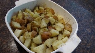 Microwave and oven  roasted dill and garlic potatoes