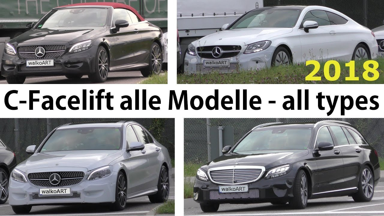 mercedes erlk nig c klasse c class facelift 2018 alle 4 modelle prototypes all models 4k spy. Black Bedroom Furniture Sets. Home Design Ideas