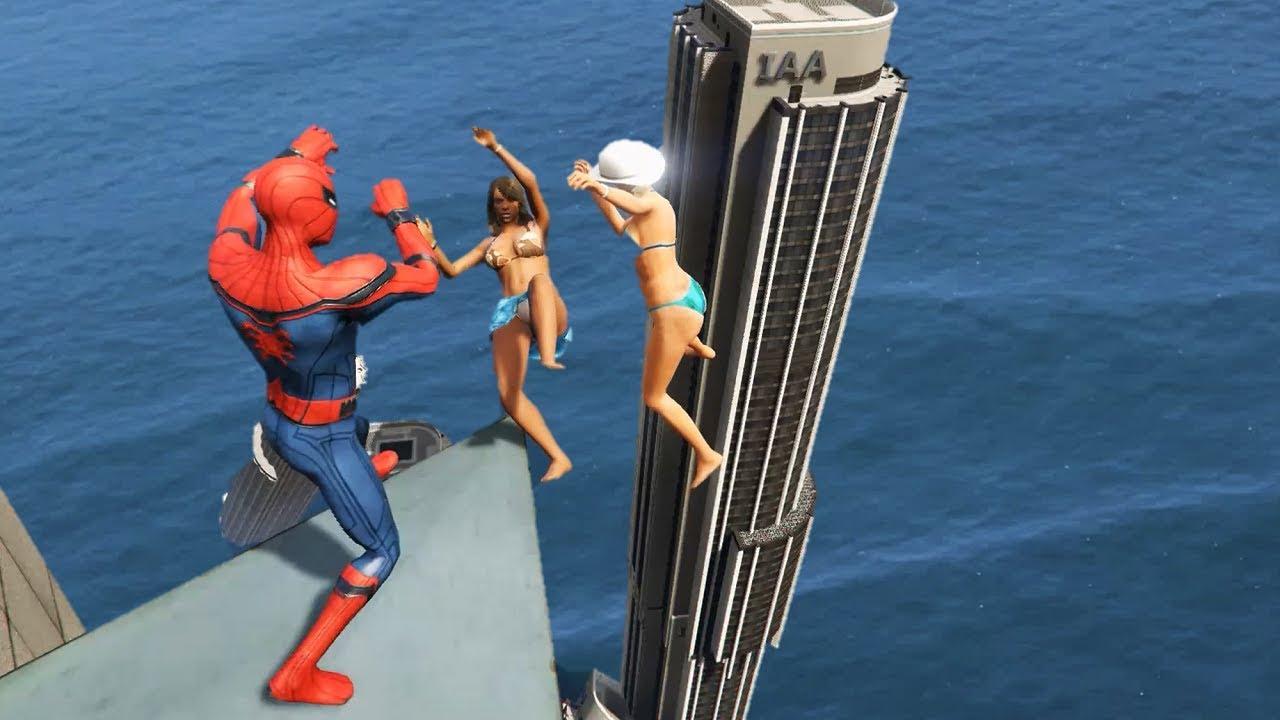 GTA 5 Water Ragdolls | SPIDERMAN Jumps/Fails #25 (Euphoria physics | Funny Moments)