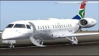 FSX Embraer ERJ 135LR South African airlines smooth landing at Mafikeng airport