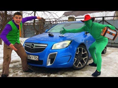 Magician Mr. Joe & Green Man on Opel Insignia OPC w/ Toy Cars Turned in Big Sport Cars for Kids