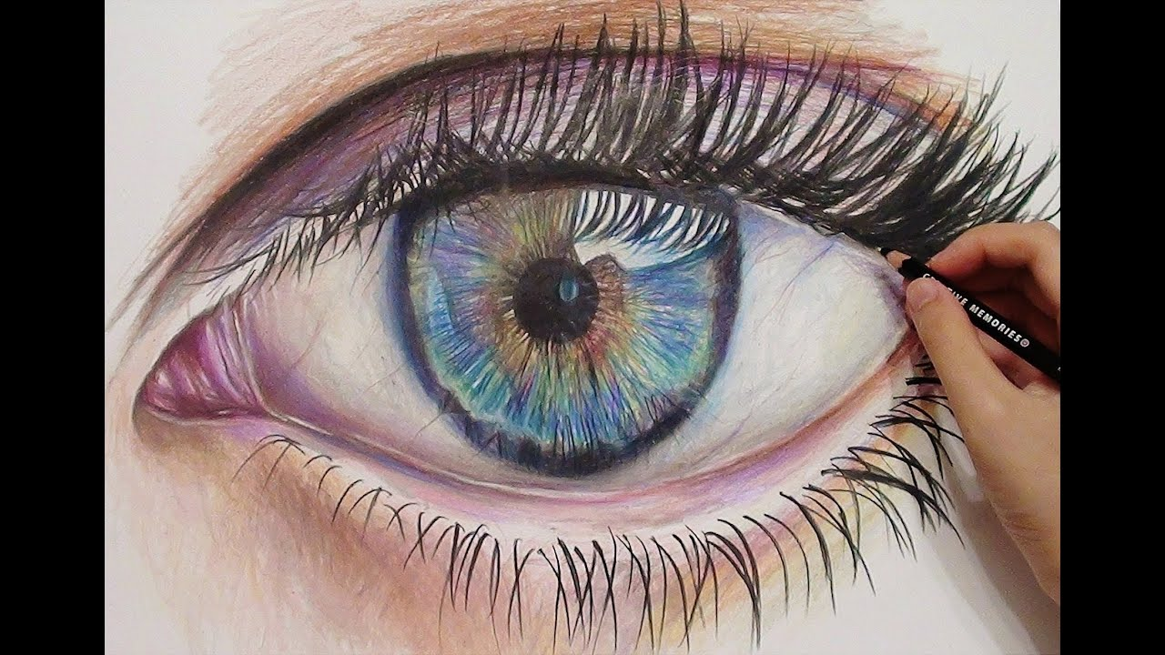 How to draw with colored pencils - Drawing A Realistic Eye With Colored Pencils Time Lapse