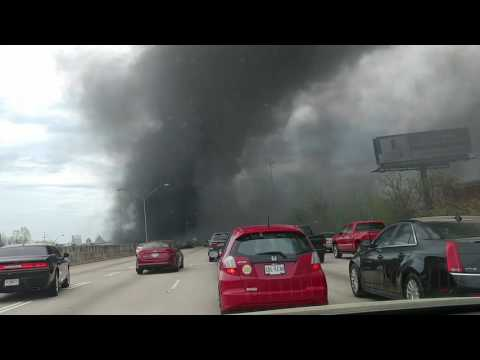 Driving through smoke I-85 Atlanta Bridge collapse