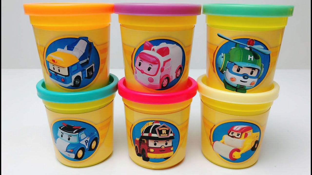 Learn Colors With Play Doh 3d Robocar Poli Molds, Amber, Roy, Helly, Max, Mickey