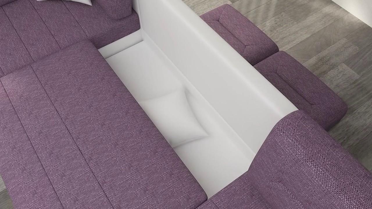 Ecksofa u form mit schlaffunktion  Ecksofa Dora in U-Form mit Schlaffunktion und 2 Bettkasten - YouTube