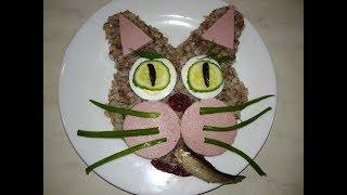 Украшение детского блюда. Котик из гречки. Гречневый кот. Как накормить ребенка