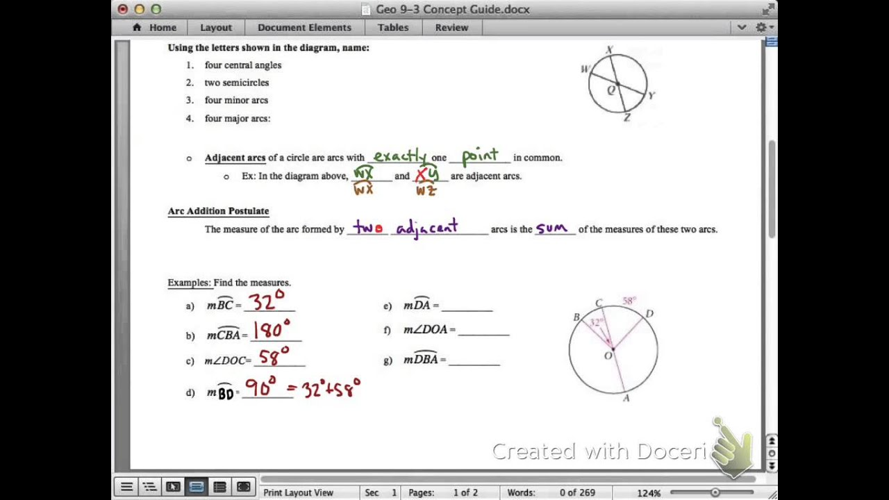 Geometry 9 3 Concept Guide Arcs And Central Angles