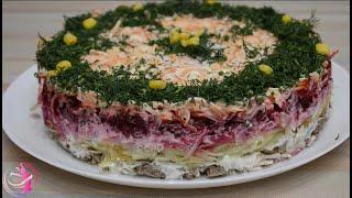 Салат слоеный с мясом, свеклой, морковью по-корейски.