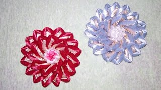 Красивые цветы канзаши из узкой ленты 0,6 см. Цветы канзаши. Flowers kanzashi