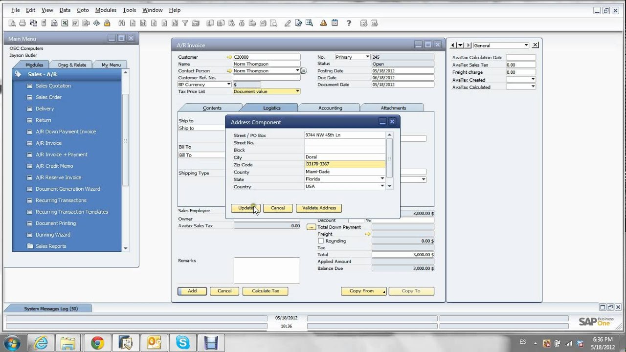 Invoice Creation In SAP Business One With AvaTax  Invoice Creation