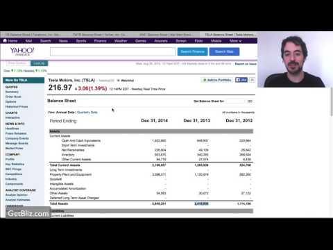 How to read balance sheets on Yahoo Finance