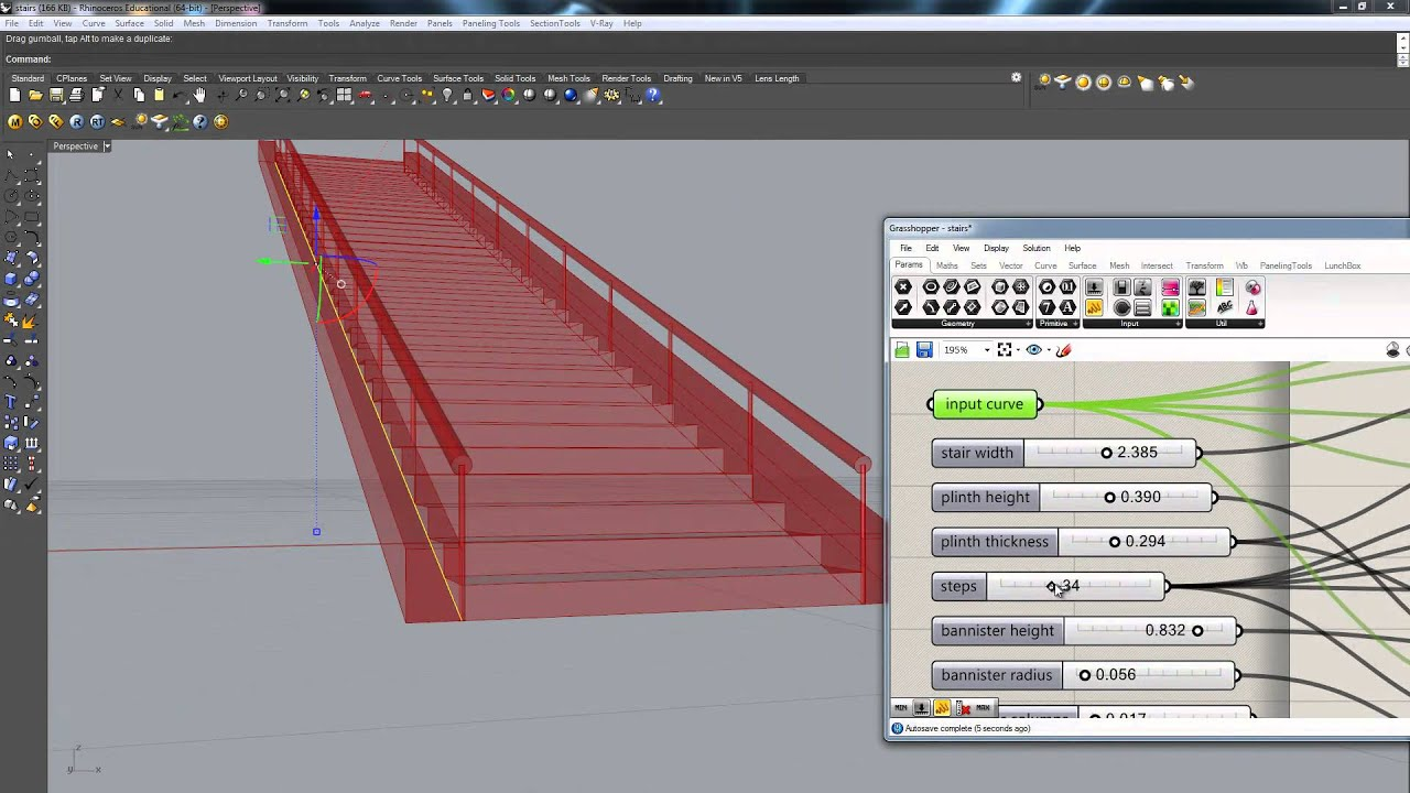 Grasshopper For Rhino 3d Quot Stair Generator Quot Youtube