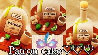 Patron tequila cake tutorial /pastel de la botella patron